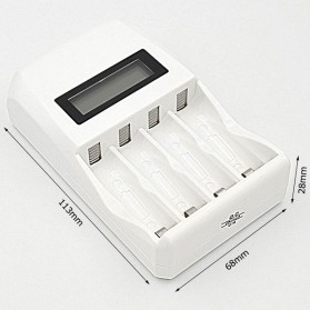 LANDFOX Super Quick Battery Charger 4 Slot for AA / AAA NiCd NiMH - C907W - White - 10