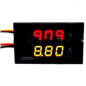 Alat Pengukur Listrik Voltmeter Ammeter Dual LED - Black
