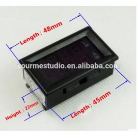 Alat Pengukur Listrik Voltmeter Ammeter Dual LED - Black - 2