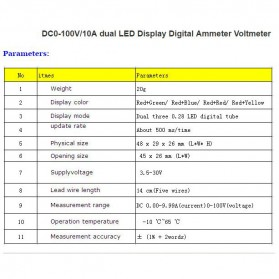 Alat Pengukur Listrik Voltmeter Ammeter Dual LED - Black - 5