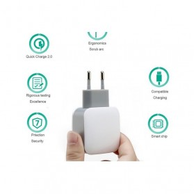 Olaf Dual Port USB Charger Travel - 170209 - White - 2