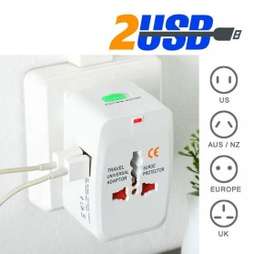 Universal Travel Adapter EU AU UK US Plug with 2 USB Port - UAK02 - White