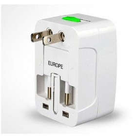 Universal Travel Adapter EU AU UK US Plug with 2 USB Port - UAK02 - White - 2