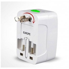 Universal Travel Adapter EU AU UK US Plug with 2 USB Port - UAK02 - White - 3