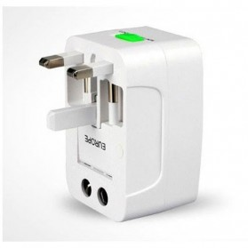 Universal Travel Adapter EU AU UK US Plug with 2 USB Port - UAK02 - White - 4