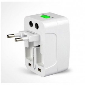 Universal Travel Adapter EU AU UK US Plug with 2 USB Port - UAK02 - White - 5