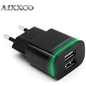 AIXXCO Charger USB Dual Port 2.1A With LED Light - Black