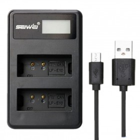 SEIWEI Charger Baterai Travel Canon EOS Rebel T3 T5 T6 - LP-E10 - Black