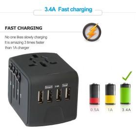 Travel Adapter Universal Plug EU UK AU with 4 USB Port 3.4A - 199-4U - Black - 4