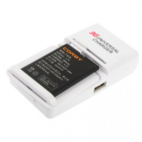 Smart Battery Charger with USB Port for Lithium-ion battery, Only Using in EU Socket Plug - White