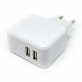 Dual USB Mini Travel Charger - SP004-2B - White - 2