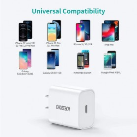 CHOETECH Travel Charger USB Type C PD Charging 20W - PD5005 - White - 5
