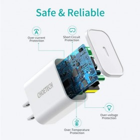CHOETECH Travel Charger USB Type C PD Charging 20W - PD5005 - White - 6