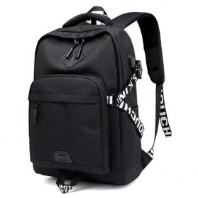 Tas Ransel Canvas dengan USB Charger Port - KS3140W - Black