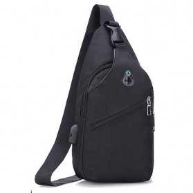 Tas Selempang Crossbody Sling Bag Sporty dengan USB Charger Port - Black