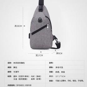 Tas Selempang Crossbody Sling Bag Sporty dengan USB Charger Port - Black - 2