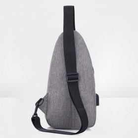 Tas Selempang Crossbody Sling Bag Sporty dengan USB Charger Port - Black - 6