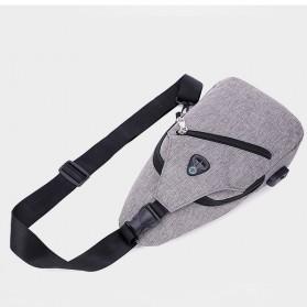 Tas Selempang Crossbody Sling Bag Sporty dengan USB Charger Port - Black - 8