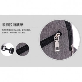 Tas Selempang Crossbody Sling Bag Sporty dengan USB Charger Port - Black - 9