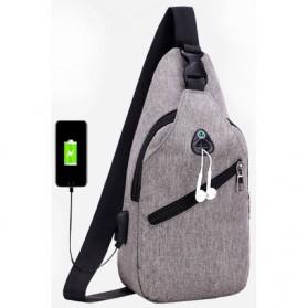 Tas Selempang Crossbody Sling Bag Sporty dengan USB Charger Port - Black - 10
