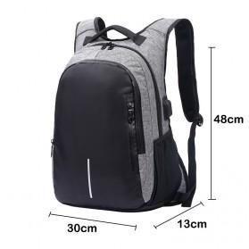 Manjianghong Tas Ransel Laptop 15.6 Inch dengan USB Port - 8691 - Black/Gray - 5