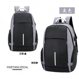 KY-Z Tas Ransel Laptop Anti Maling dengan USB Charger Port - 818 - Black/Gray - 1