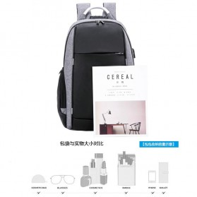 KY-Z Tas Ransel Laptop Anti Maling dengan USB Charger Port - 818 - Black/Gray - 2