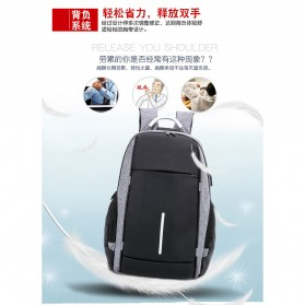 KY-Z Tas Ransel Laptop Anti Maling dengan USB Charger Port - 818 - Black/Gray - 4