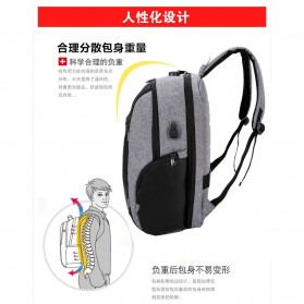 KY-Z Tas Ransel Laptop Anti Maling dengan USB Charger Port - 818 - Black/Gray - 5