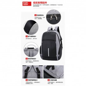 KY-Z Tas Ransel Laptop Anti Maling dengan USB Charger Port - 818 - Black/Gray - 8