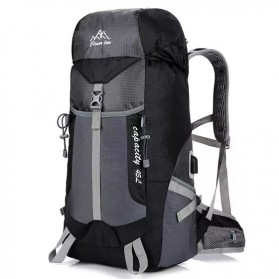 CLEVER BEES Tas Ransel Gunung Hiking Waterproof 55L with USB Charger Port - L66 - Black
