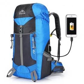 CLEVER BEES Tas Ransel Gunung Hiking Waterproof 55L with USB Charger Port - L66 - Black - 2