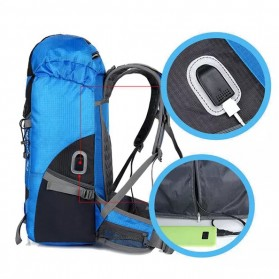 CLEVER BEES Tas Ransel Gunung Hiking Waterproof 55L with USB Charger Port - L66 - Black - 3