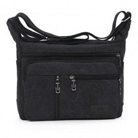 Gesiqi Tas Selempang Messenger Bag Bahan Canvas - ZA0318 - Black - 1