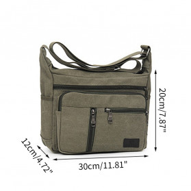 Gesiqi Tas Selempang Messenger Bag Bahan Canvas - ZA0318 - Black - 2