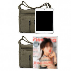 Gesiqi Tas Selempang Messenger Bag Bahan Canvas - ZA0318 - Black - 5