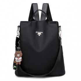 LONOOLISA Tas Ransel Backpack Campus Rucksack - Y4161 - Black
