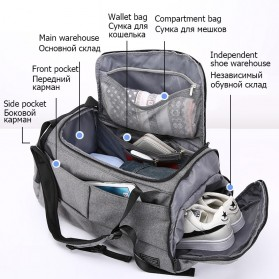 TUGUAN Tas Ransel Olahraga Backpack Duffle Gym Bag 15 Inch with Shoes Pocket - ZMB012 - Gray - 2