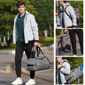 TUGUAN Tas Ransel Olahraga Backpack Duffle Gym Bag 15 Inch with Shoes Pocket - ZMB012 - Gray - 3