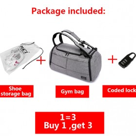 TUGUAN Tas Ransel Olahraga Backpack Duffle Gym Bag 15 Inch with Shoes Pocket - ZMB012 - Gray - 7