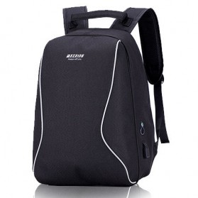Mxzxing Tas Ransel Bisnis dengan USB Port Charging & Earphone - 2060 - Black - 2