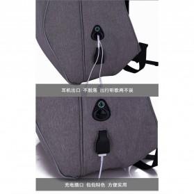 Mxzxing Tas Ransel Bisnis dengan USB Port Charging & Earphone - 2060 - Black - 9