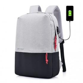 Dxyizu Tas Ransel Bisnis dengan USB Port Charging - 2145 - Black White
