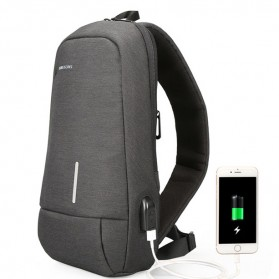 KINGSONS Tas Selempang Sling Bag with USB Charger Port - KS3173W - Dark Gray