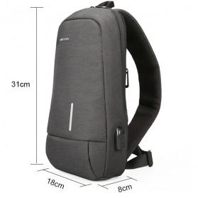 KINGSONS Tas Selempang Sling Bag with USB Charger Port - KS3173W - Dark Gray - 2