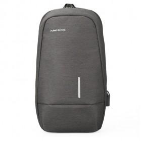 KINGSONS Tas Selempang Sling Bag with USB Charger Port - KS3173W - Dark Gray - 3