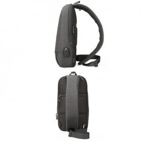 KINGSONS Tas Selempang Sling Bag with USB Charger Port - KS3173W - Dark Gray - 4