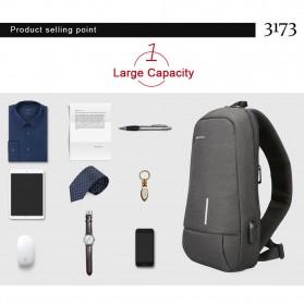 KINGSONS Tas Selempang Sling Bag with USB Charger Port - KS3173W - Dark Gray - 5