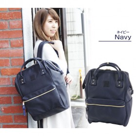 Tas Ransel Anello Handle Backpack Campus Rucksack L Size - Black with White Side - 3