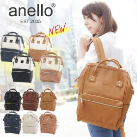 Tas Ransel Anello Handle Backpack Campus Rucksack L Size - Black with White Side - 6